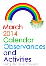 March 2014 Calendar Observances and Activities