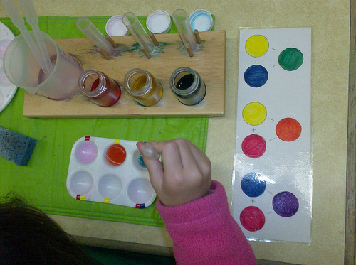 Color Mixing (Photo from The Moveable Alphabet)