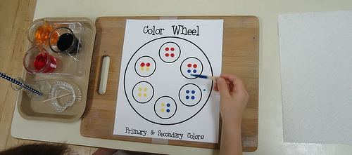 Color Mixing with Color Wheel (Photo from To the Lesson)
