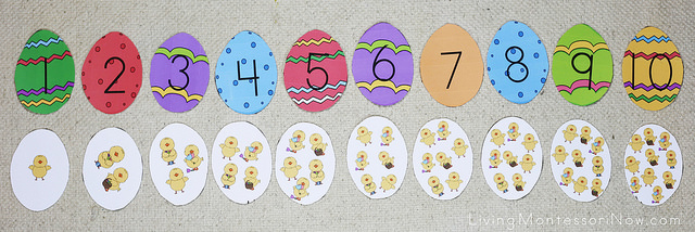 Matching Easter Egg Numbers with Chick Sets to 10 Layout