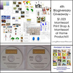 4th Blogiversary Giveaway – $1,023 Montessori Print Shop/Montessori at Home Products!!!