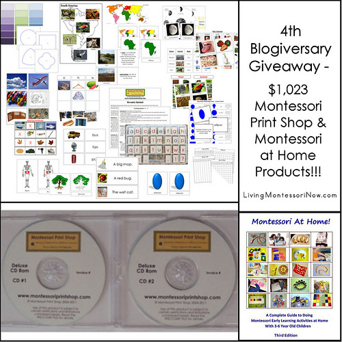 4th Blogiversary Giveaway - $1,023 Montessori Print Shop/Montessori at Home Products!!!