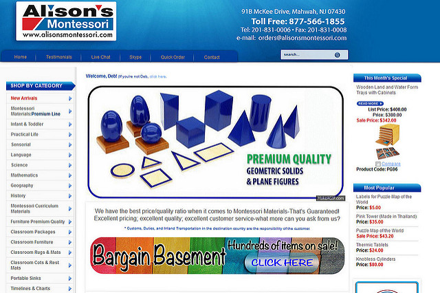 Screenshot of Alison's Montessori Homepage