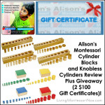 Alison's Montessori Cylinder Blocks and Knobless Cylinders Review Plus Giveaway