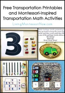 Free Transportation Printables and Montessori-Inspired Transportation Math Activities