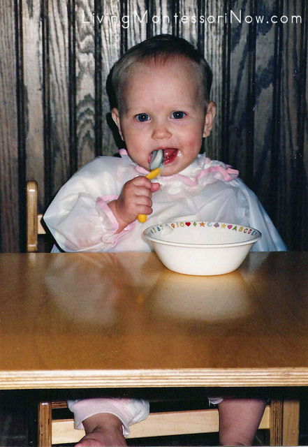 My daughter using her weaning table at 7½ months, 1990