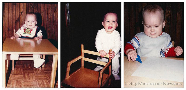 My son using his weaning table at 9, 10, and 11 months - 1985-86