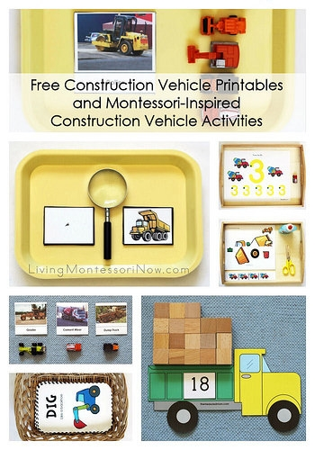 Free Construction Vehicle Printables and Montessori-Inspired