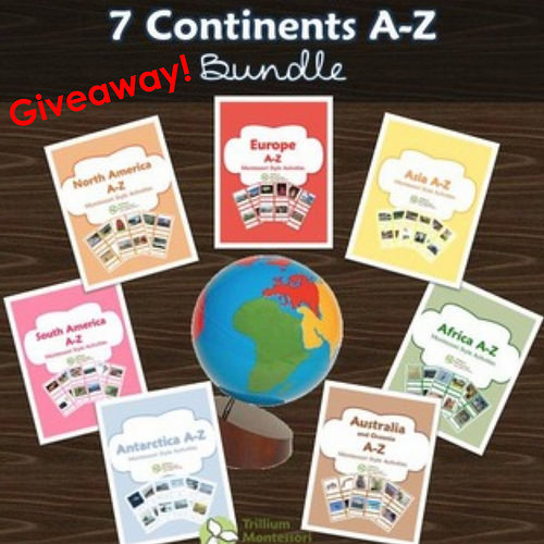 Giveaway - 3 Winners - Trillium Montessori 7 Continents A-Z Bundle
