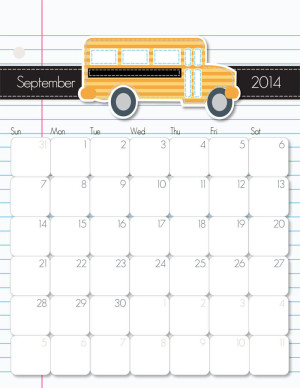 September 2014 Calendar from iMom