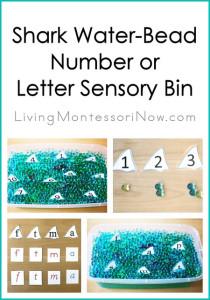 Shark Water-Bead Number or Letter Sensory Bin