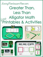 Greater Than, Less Than Alligator Math Free Printables and Activities