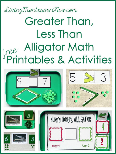 Montessori Monday – Greater Than, Less Than Alligator Math Printables and Activities