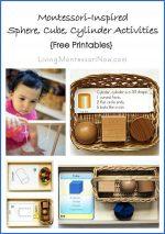 Montessori Monday – Montessori-Inspired Sphere, Cube, Cylinder Activities {Free Printables}