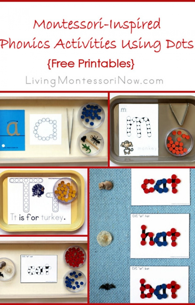 Montessori-Inspired Phonics Activities Using Dots {Free Printables}