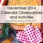 December 2014 Calendar Observances and Activities