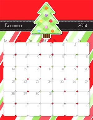 December 2014 Calendar from iMom