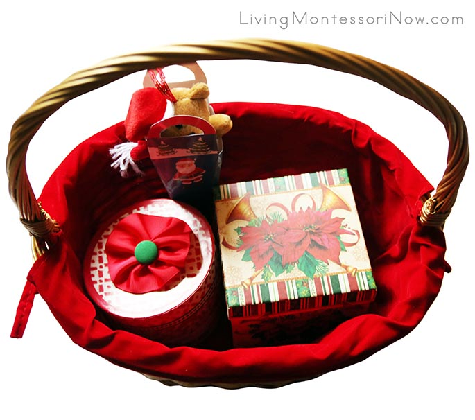 Christmas Gift Box and Bag Treasure Basket