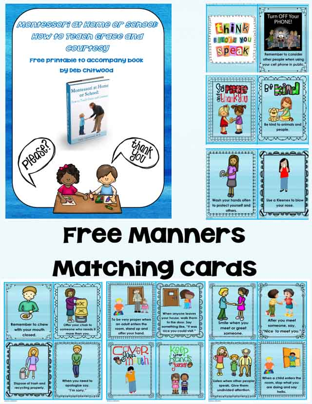 Free Grace and Courtesy Printable {Manners Matching Cards}