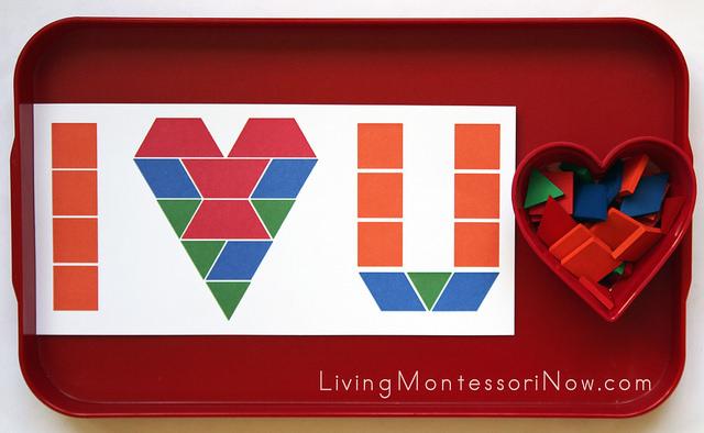 """I Love You"" Pattern Block Tray"