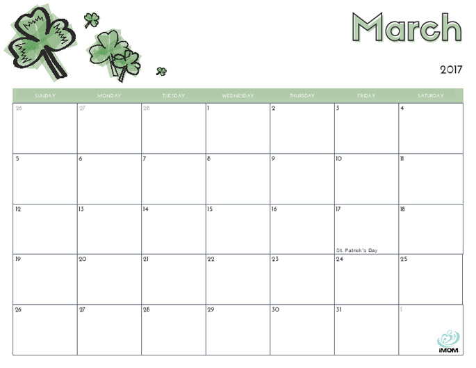 March Calendar from iMom