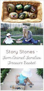Story Stones – Farm Animal Families Treasure Basket
