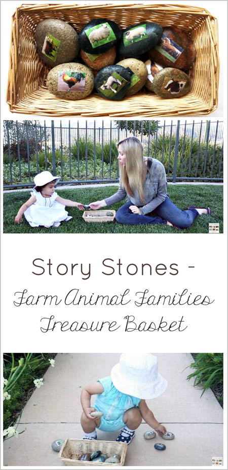 Story Stones – Farm Animal Families Treasure Basket