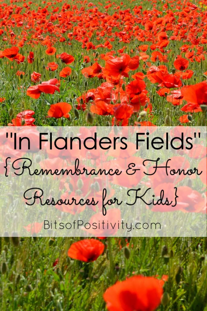 """In Flanders Fields"" {Remembrance and Honor Resources for Kids} at BitsofPositivity.com"