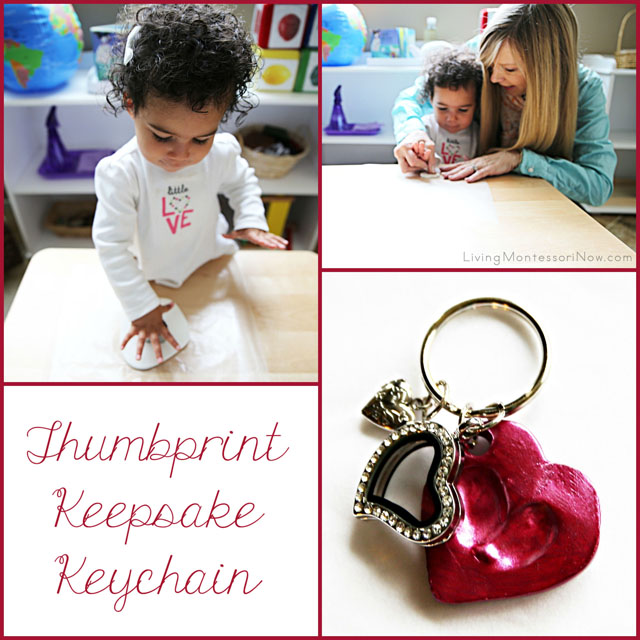 Thumbprint Keepsake Keychain Gift for Mothers, Grandmothers, and Teachers