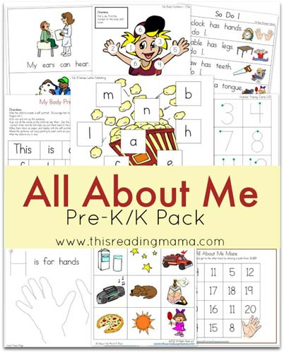 All About Me PreK/K Pack (Image from This Reading Mama)