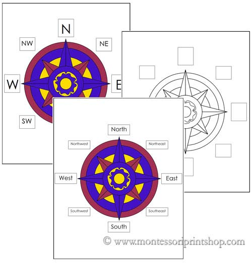 Free Compass Rose Materials (Image from Montessori Print Shop)