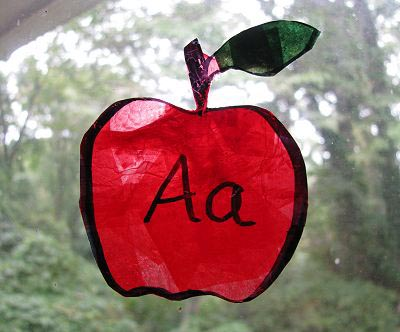 A Is for Apple Sun Catchers (Photo from Naturally Educational)