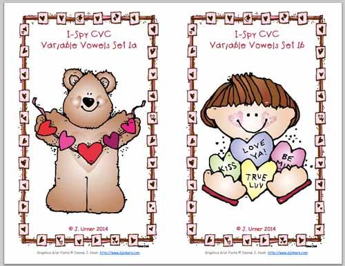 Happy Hearts CVC I-Spy Variable Vowel Words