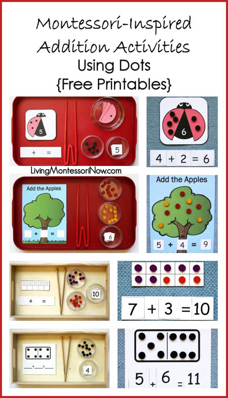 Montessori-Inspired Addition Activities Using Dots {Free Printables}