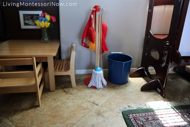Montessori Toddler Table and Cleaning Area