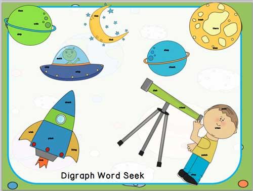 Space Word Seeks - Digraphs & CVC-CVCe