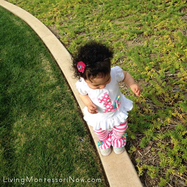 Walking on the Line Outdoors at 15 Months