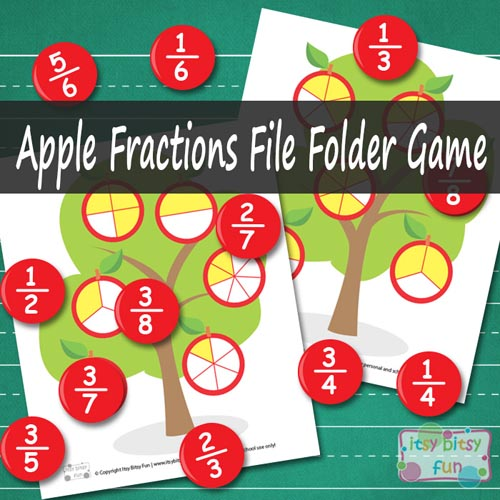 Apple Fractions File Folder Game (Photo from Itsy Bitsy Fun)