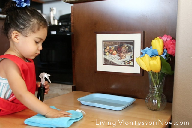 Washing a Table at 21 Months