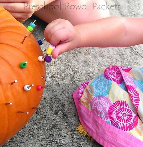 Beaded Pumpkins (Photo from Preschool Powol Packets)