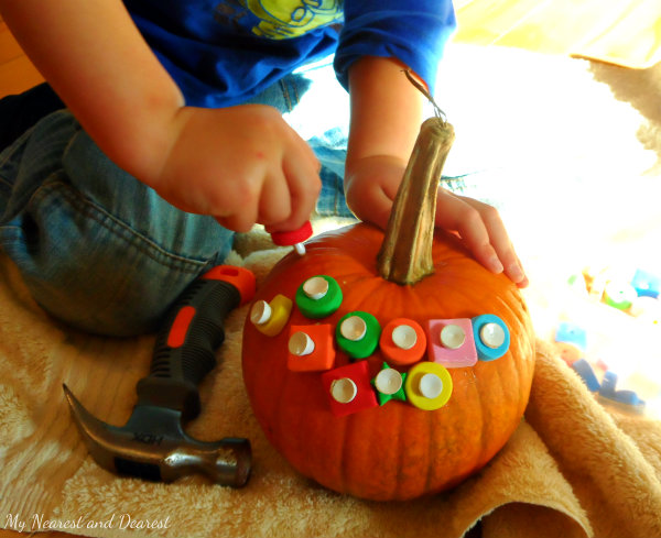 Foam Bead and Golf Tee Pumpkin Hammering (Photo from My Nearest and Dearest)