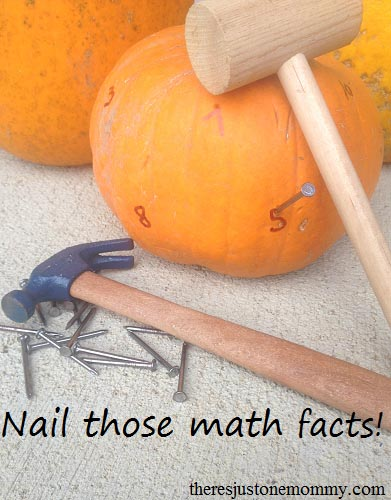 Math Facts Pumpkin Hammering Activity (Photo from There's Just One Mommy)