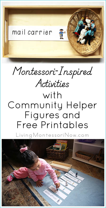 Montessori Monday – Montessori-Inspired Activities with Community Helper Figures and Free Printables