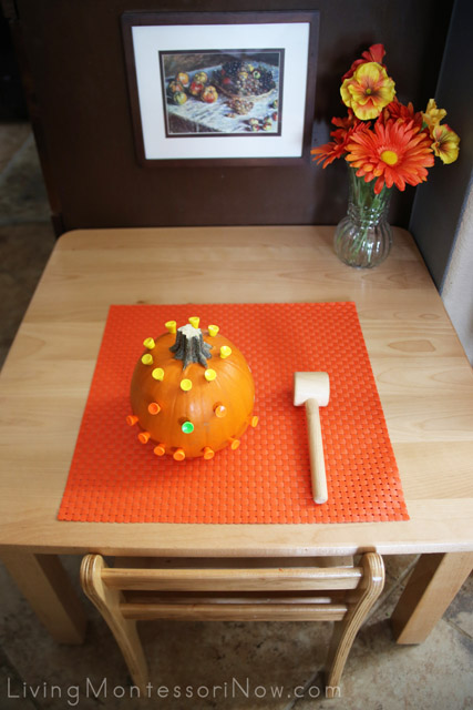Montessori-Inspired Pumpkin Hammering Table