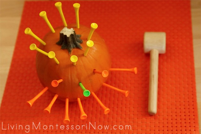 Montessori-Inspired Pumpkin Hammering for Toddlers