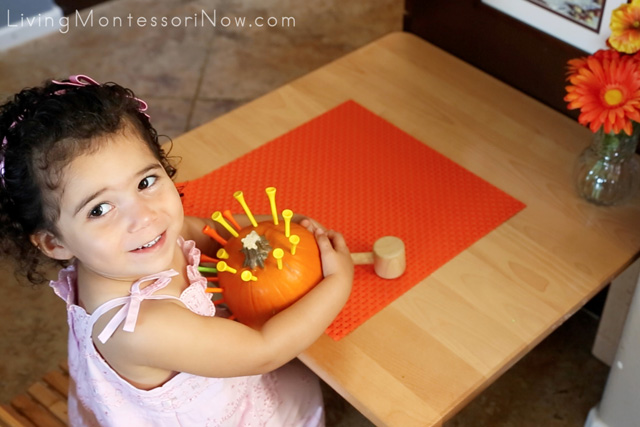 Montessori-Inspired Pumpkin Hammering