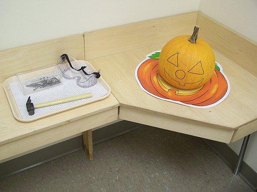 Pumpkin Hammering (Photo from My Montessori Journey)