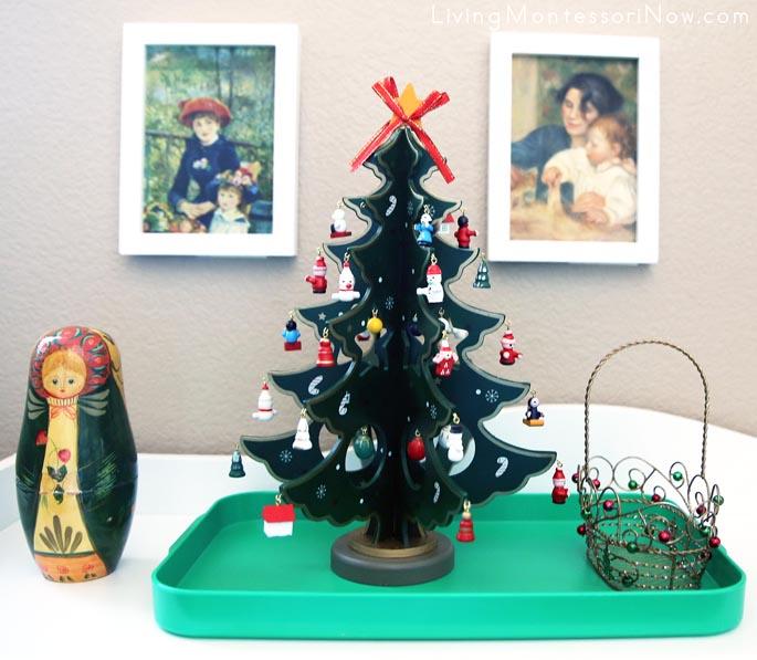 Montessori Miniature Wooden Christmas Tree Decorating Activity