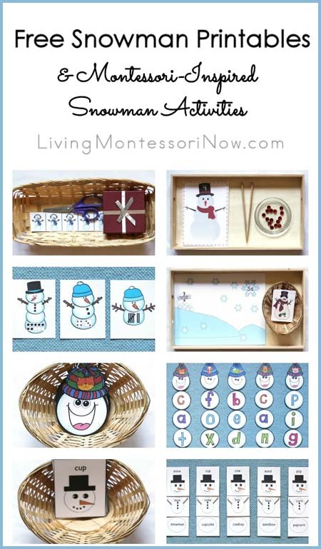 Free Snwman Printables and Montessori-Inspired Snowman Activities