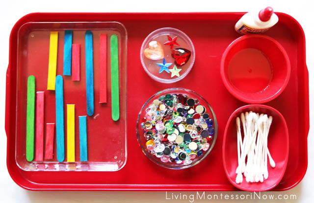 Montessori-Inspired Craft-Stick Christmas Tree Ornament Tray
